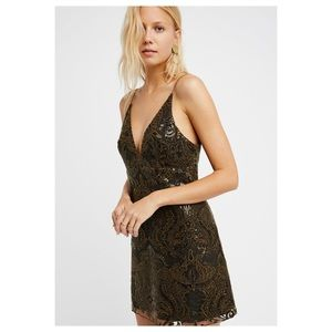 Free People Night Shimmers Green Lace Sequin Dress